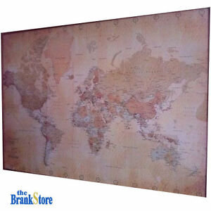 Large world map poster vintage wall picture retro art giant school image is loading large world map poster vintage wall picture retro gumiabroncs Images