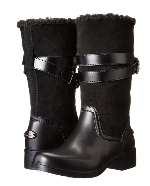 12a5ceaf0e9 Coach Zena Cold Weather Snow Motorcycle Suede/rubber/shearling Boot Black 6