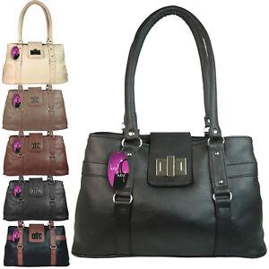 a5cc78f32ab7 Image is loading Medium-Sized-Handbag-Shoulder-Bag-2-Compartments-Zipped-