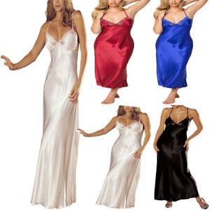 hot product various styles super popular Détails sur 2019Sexy Robe de nuit dentelle longue satin Halter à lanières  multicolor Pyjama