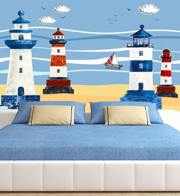 3D Farbeful tower 667 Wand Papier Wand Drucken Decal Wand Deco Innen Wand Murals
