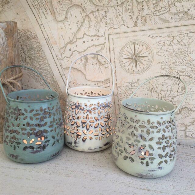 Tè in metallo luce titolare SHABBY Candle Lantern Chic Vintage Decorazione Nozze