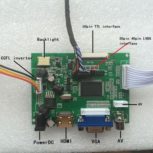 HDMI//AV//VGA LCD Lvds Driver Board Inverter Kit for TX39D88VC1AAB 1280X800 Panel