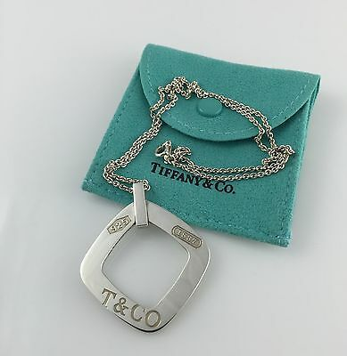 """Tiffany & Co. Sterling Silver 925 T & Co. 1837 Square Pendant/Tag  Necklace 18"""""""