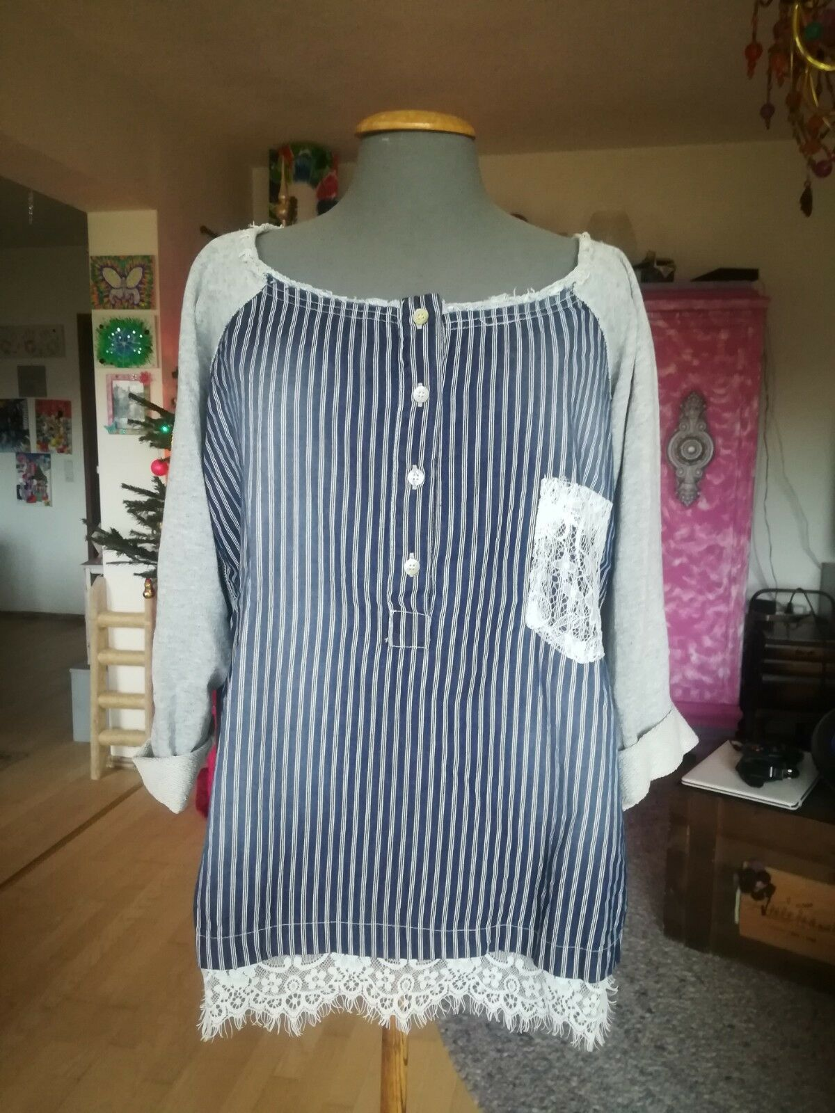 Maryley Pullover Pullover Pullover Shirt grau blau Streifen gestreift Marine Spitze Sweat | Stil  6d0ee5