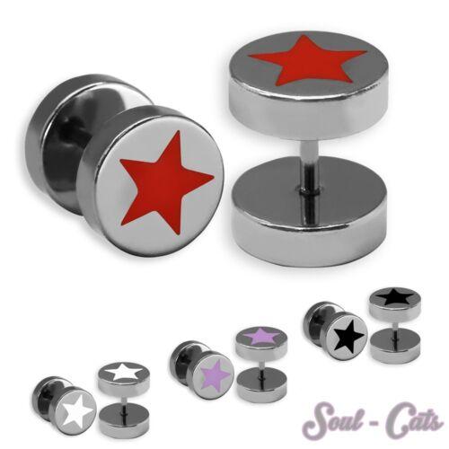 1 pares fakeplug Plug estrella pendientes pendientes plateados acero inoxidable rojo blanco rosa