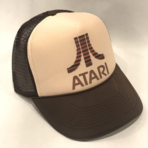Atari Truckerhut Alt Videospiel Logo Retro Baseball Kappe Braun /& Hellbraun