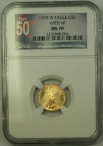 1999-W-5-Gold-Eagle-Coin-AGE-NGC-MS-70-Unfinished-PR-Dies-Emergency-Issue