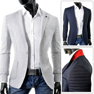 Mens-Slim-Fit-Blazer-Jacket-Ribbed-Arms-Welts-Casual-Sport-Coat-Cotton-Grey-Blue