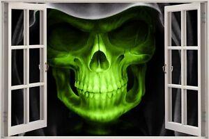 Huge 3D Window view Grim Reaper Skull Head Wall Sticker Film Mural Decal 165 gre