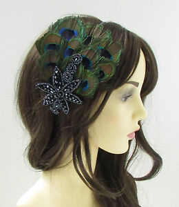 Image is loading Navy-Blue-Green-Peacock-Feather-Fascinator-Headpiece-1920s- 5d19b953cc3