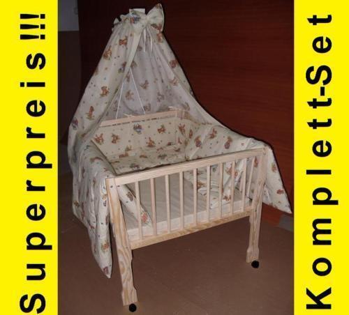 Zwillinge Zwllingswiege Bett Komplett-Set Babywiege Bettwäsche Matratze Himmel