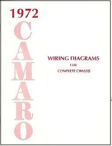 1972 72 Camaro Wiring Diagram Manual Ebay