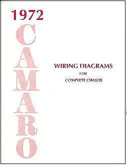 1972 72 CAMARO WIRING DIAGRAM MANUAL | eBay