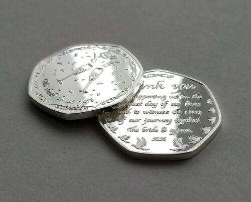 """Wedding Favour Silver Plated Commemorative Coin /""""Thank You/"""" To Guests Gift"""