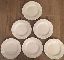 "Set Of 6 Sheffield Bone White China 10"" Swirl Dinner Plates USA"