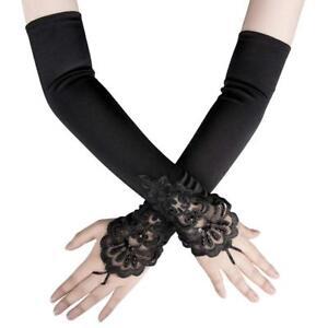 8ca98c8d7ea Image is loading Women-Fingerless-Lace-Sequins-Satin-Bridal-Party-Glove-