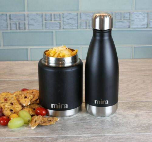 17 oz Black Vacuum Insulated Stainless Steel Lunch Thermos MIRA Lunch Food Jar