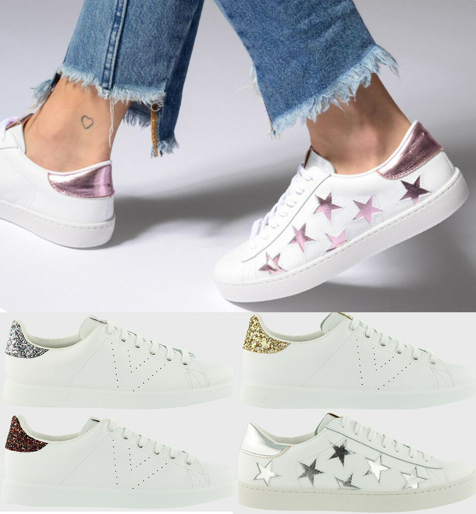 Women White Sneakers Leather and Glitter shoes Victoria Spain NEW