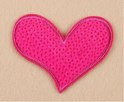 Heart - Love - Valentine - Pink Sequin Iron On Applique Patch