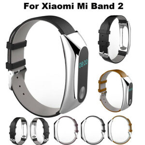 Luxury-Leather-Replacement-Band-Strap-Metal-Case-For-Xiaomi-Mi-Band-2-Bracelet