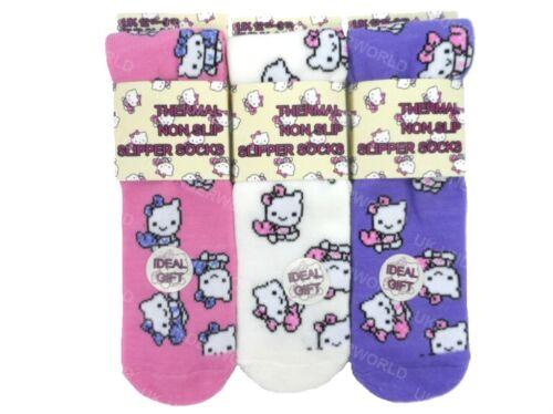 3 Pairs Girls Childrens Kitty Cat Design Warm Thermal Slipper Gripper Bed Socks