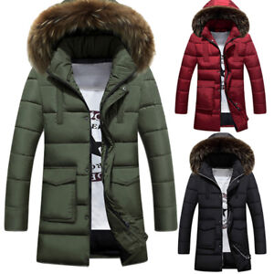 Mens-Warm-Winter-Parka-Quilted-Padded-Hooded-Long-Jacket-Outwear-Fur-Collar-Coat