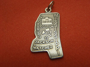 Vintage 925 Silver Enamel Mississippi Magnolia State Map Charm Featuring Vicksburg Jackson and a Man with a Horse /& Plow For Bracelet