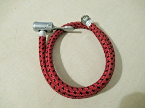 Vintage Red /& Black Inflator Hose With Clamp For Bicycle Pump 2 Foot Length