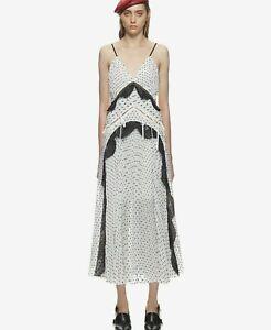 SELF-PORTRAIT-White-Black-Pleated-Long-Party-Cocktail-Midi-Night-Dress-UK-12-40