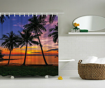 TROPICAL ISLAND PARADISE SUNSET PALM TREES BEACH SHORE PARADISE SHOWER CURTAIN