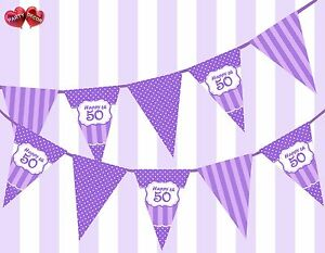 Pretty-Purple-Happy-50th-Birthday-Vintage-Polka-Dots-Theme-Bunting-Banner-Party