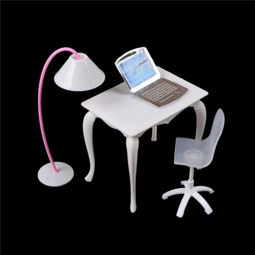 Dollhouse Furniture Desk+Lamp+Laptop+Chair Play house Prop*