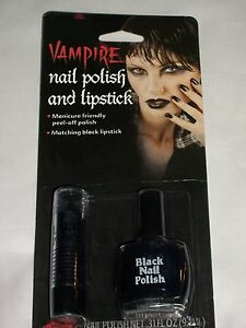Halloween Costume Black Vampire Nail Polish Lip Stick Theater Prop