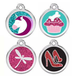 Engraved-Dog-ID-Tags-Discs-GLITTER-Unicorn-Cupcake-High-Heels-Red-Dingo