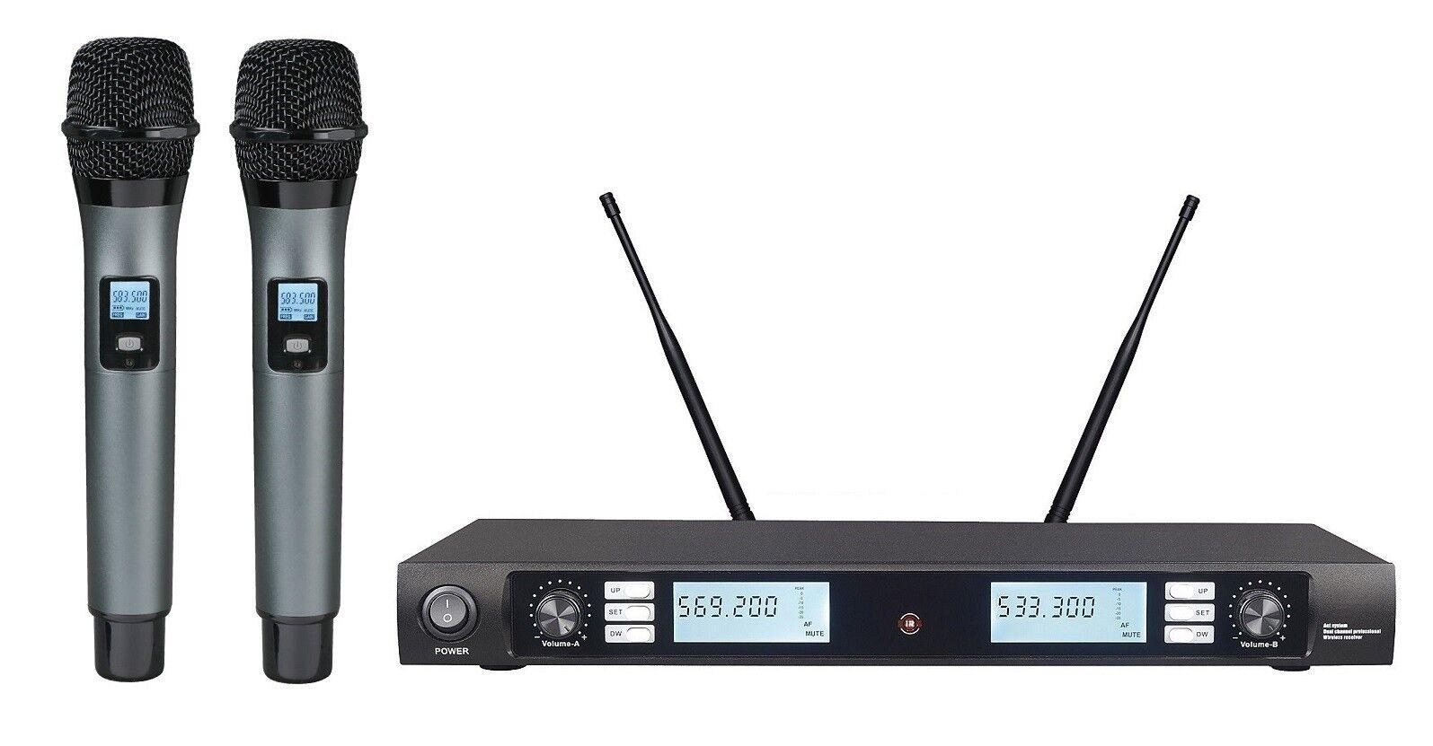 Professional UHF Wireless Cordless Microphone mic System Karaoke Microphone Set
