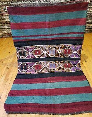 "Antique 1930-1940s Wool Pile 3'5""×5'5"" Embroidered Panels Camel Bag Rug Antiques"