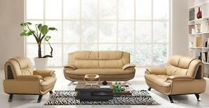 Modern Beige Chic Italian Leather Sofa Living Room Set 3Pcs ...