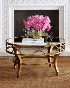 Fretwork Coffee Table.Details About New Stunning Horchow Lena Fretwork Mirror Top Coffee Table Antique Gold Round