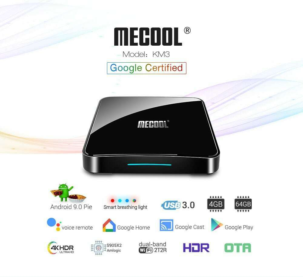 NEW Mecool KM3 Voice Remote Android 9.0 4GB 64GB 5G WIFI blueetooth HDR 4K TV Box