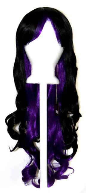 30'' Long Curly w/ Long Black and Indigo Purple Cosplay Lolita Wig NEW