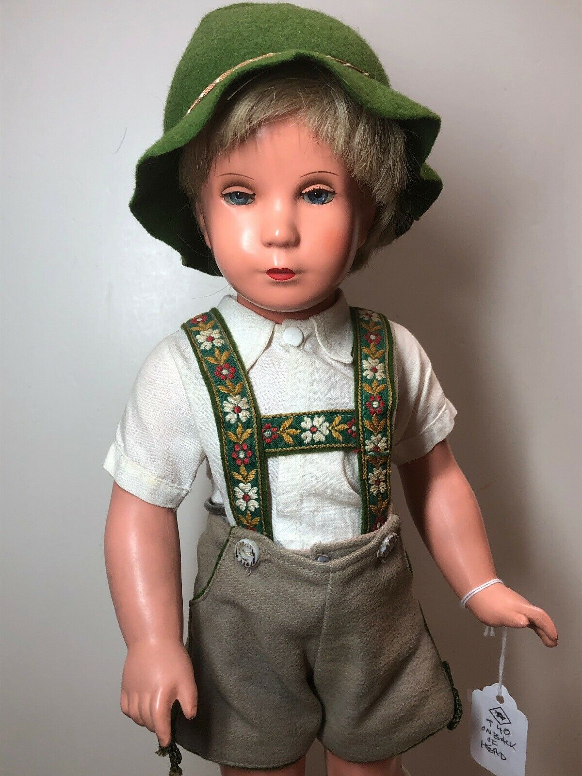 """15"""" Vintage Kathe Kruse Blonde Boy Doll Celluloid T40 Made in Germany  S"""