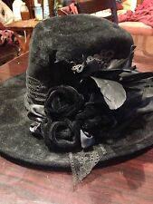 Vintage Handmade Antique Feather Flower Black Wool Felt Fedora Hat