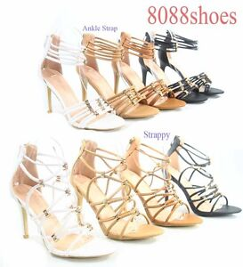 Women-039-s-Sexy-Strappy-Ankle-Strap-Open-Toe-Zip-High-Heel-Sandal-Shoes-Size-5-10