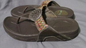 Details about Women's Skechers Tone Ups Brown Leather Flip Flops Sandals Embroidered Size 8