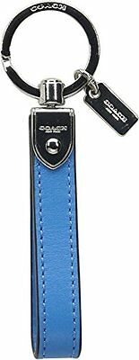 NWT COACH Boxed Leather Loop Key Ring Chain Silver/Azure Blue 66054B