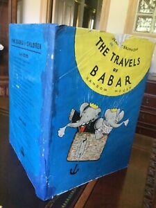 The Travels of Babar, De Brunhoff 1st Ed,,Script,1934, Printed by Duenewald D/J