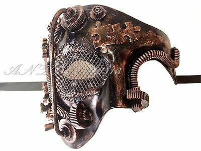 New Steampunk Style Copper Phantom Half Face Men Masquerade Mask Prom Party