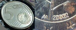 Alemania 5 Céntimos Probe Bildseite Münzz. Y Año Doble 2002A 61708