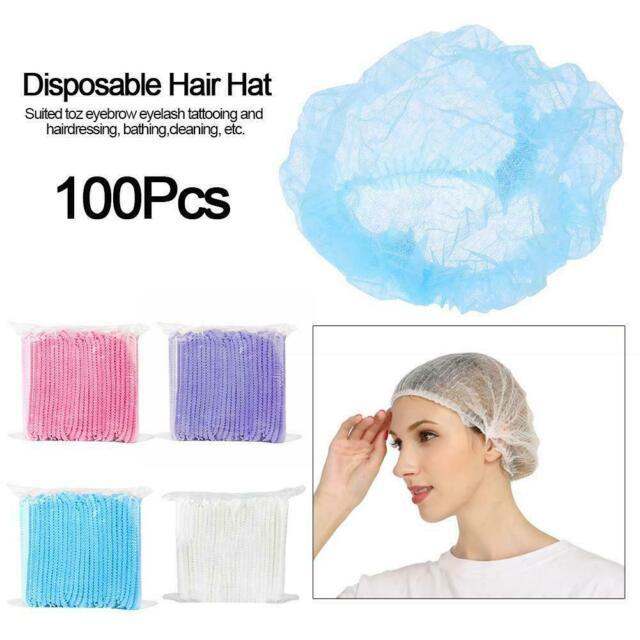 400Pcs Disposable Head Cover Mob Cap Hat Hair Net Non Woven Anti Dust Proof Hats